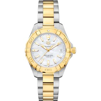 Lady Aquaracer 32 mm Quartz Watch. The Steel And Gold Plated Watch Has A Yellow Bezel, Mother Of Pearl Dial And A Steel And Yellow Bracelet With Wet-Suit Extension. Model WBD1320.