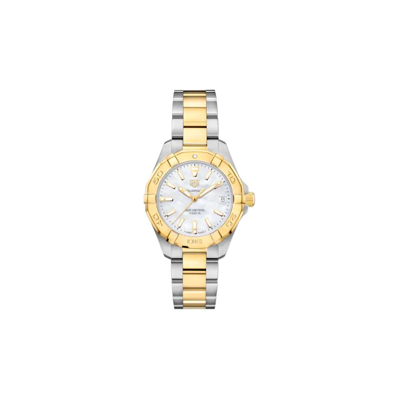 Tag Heuer  Lady Aquaracer 32 mm Quartz Watch. The Steel And Gold Plated Watch Has A Yellow Bezel, Mother Of Pearl Dial And A Steel And Yellow Bracelet With Wet-Suit Extension. Model WBD1320.