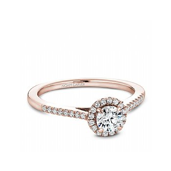 Carver Studio 14Kt Rose Gold Diamond Ring, 0.25Ct Center Diamond With 33=0.42Ct Halo And Side Diamonds. Si/Gh