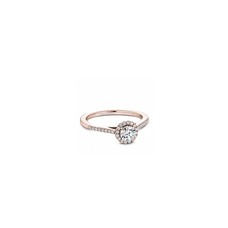 Noam Carver Carver Studio 14Kt Rose Gold Diamond Ring, 0.25Ct Center Diamond With 33=0.42Ct Halo And Side Diamonds. Si/Gh