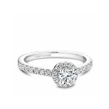 Carver Studio Diamond Ring, 14Kt White Gold, 0.33Ct Center With 33=0.69Ct On Halo And Sides, Si/Gh