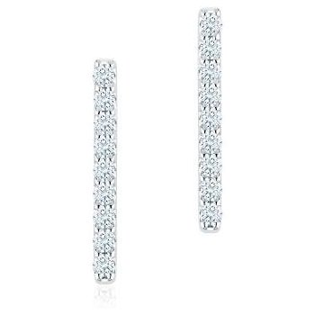 Birks Les Plaisirs Diamond Bar Earrings In 18Kt White Gold , D=0.16Ct