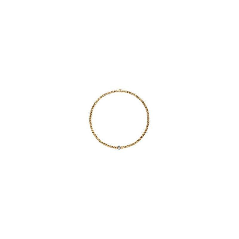 Fope Fope Geoielli 18 Kt Yellow Gold Flex It Eka Necklace With Diamonds - 0. 15 Ctw