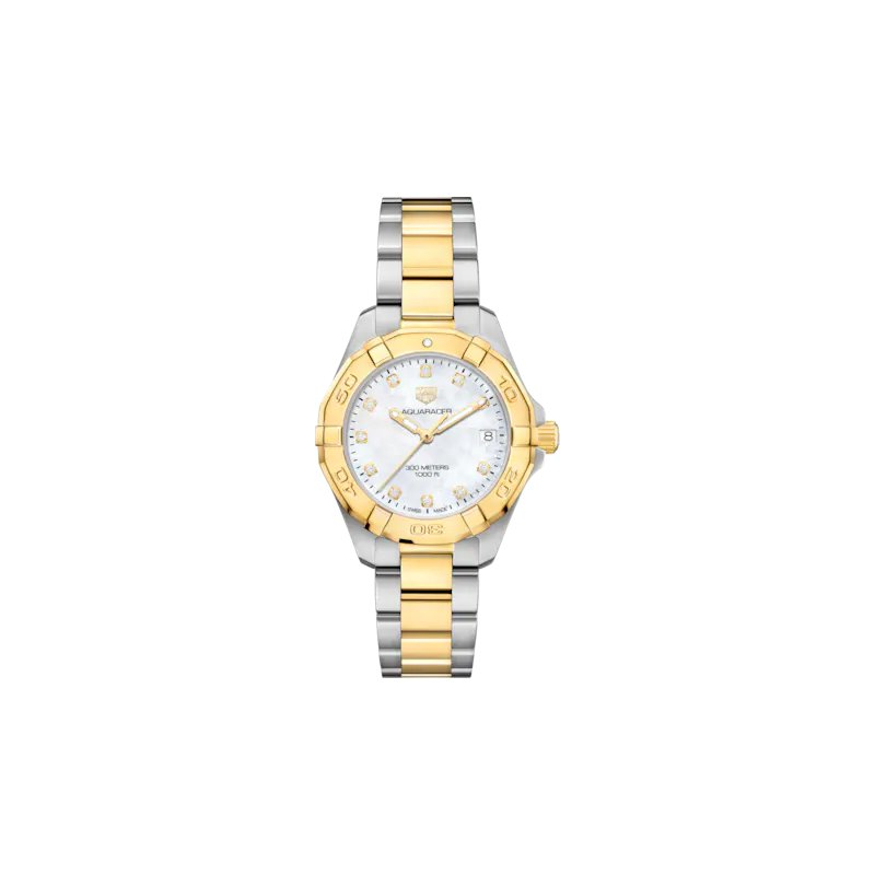 Tag Heuer  Lady Aquaracer In Stainless Steel And Yellow Gold Plate. The 32 mm Quartz Watch Has A Plated Rotating Bezel, Mother Of Pearl Dial With Diamond Hour Markers And Steel Bracelet With Gold Plated Center Link And Wet-Suit Extension. Model WBD1322.