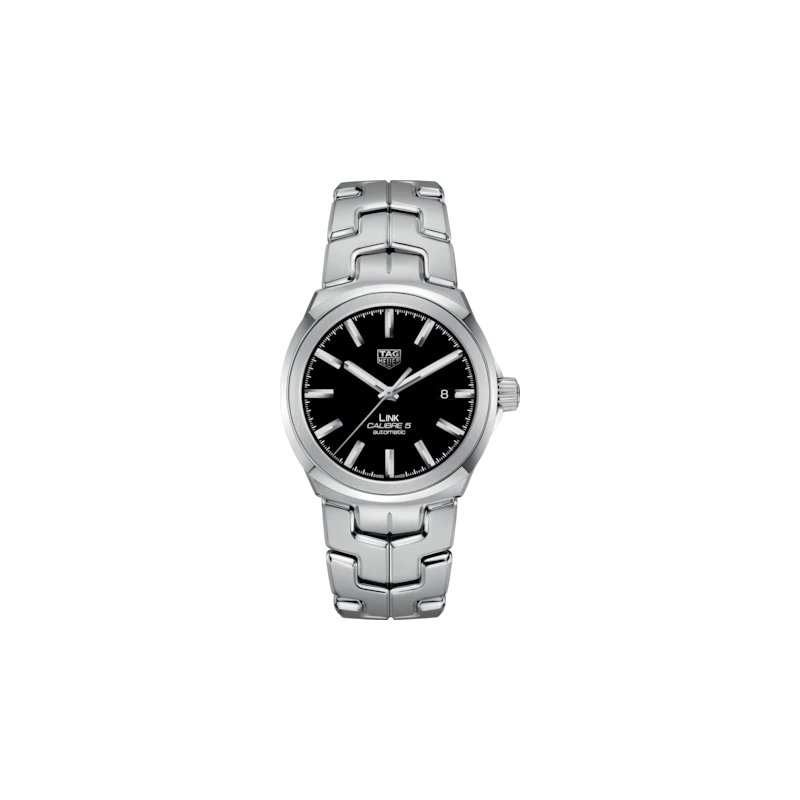 Tag Heuer  'Link' Series 41 mm Steel Watch. The Calibre 5 Automatic Movement Watch Has A Date At 3 O'Clock, Black Dial With Applied Indexes And A Folding Clasp Bracelet. Watch Is Model WBC2110.