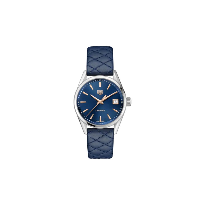 Tag Heuer Ladies Carrera Quartz Watch. The 36 mm Steel Watch Has A Blue Dial With Rose Gold Applied Hour Markers And A Blue Calf Skin Quilted Strap With Folding Clasp. Model WBK1312.
