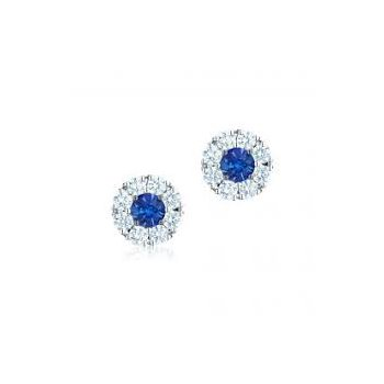 Birks Snowflake Round Sapphire Diamond Earrings In 18Kt White Gold (Sp0.46Ct/Di0.56Ct)