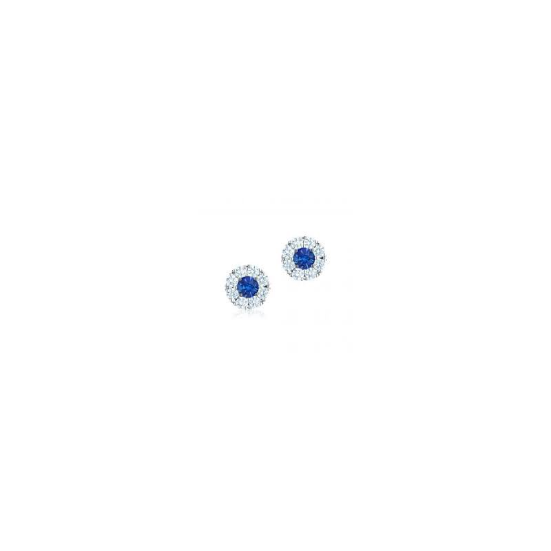 Birks Birks Snowflake Round Sapphire Diamond Earrings In 18Kt White Gold (Sp0.46Ct/Di0.56Ct)