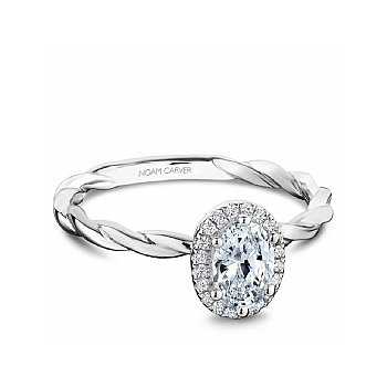 Carver Studio ring 14kt white gold 0.50ct Oval center diamond with halo of 20rd=0.08ct SI/GH