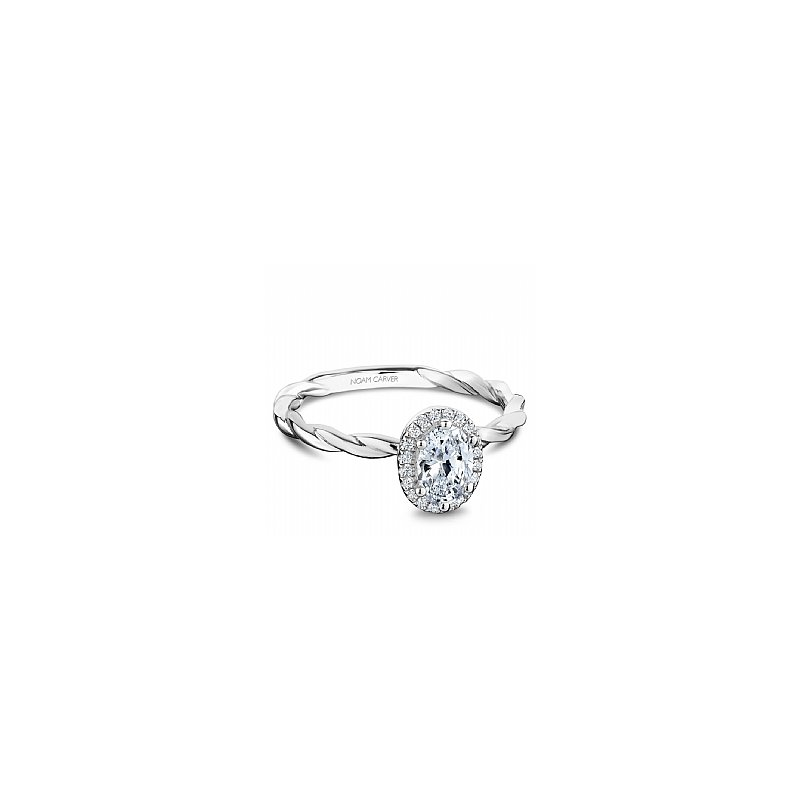 Noam Carver Carver Studio ring 14kt white gold 0.50ct Oval center diamond with halo of 20rd=0.08ct SI/GH