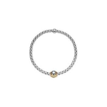 Fope 18Kt Yellow Gold Eka Tiny Bracelet With Tri-Colour Knot