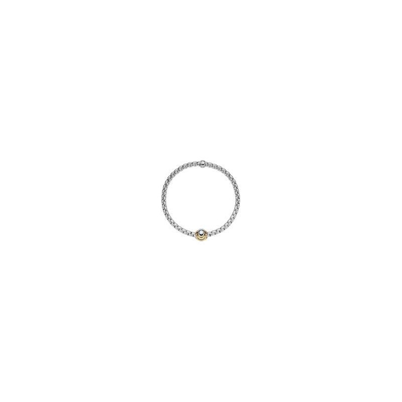 Fope Fope 18Kt Yellow Gold Eka Tiny Bracelet With Tri-Colour Knot