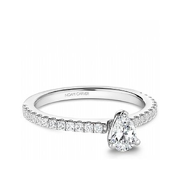 Carver Studio Ring, 14kt white gold with 0.33ct Pear shape center diamond and 25 side diamonds totalling 0.59ct. SI/GH