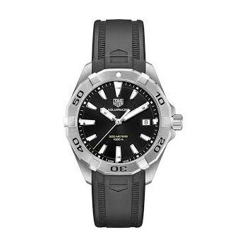 Aquaracer Quartz Watch. The 41 mm Steel Watch Has A Black Dial, Unidirectional Rotating Bezel And A Black Rubber Strap With Folding Clasp. Model WBD1110.