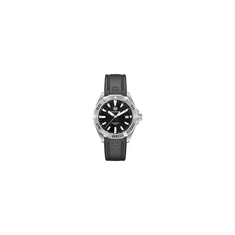 Tag Heuer  Aquaracer Quartz Watch. The 41 mm Steel Watch Has A Black Dial, Unidirectional Rotating Bezel And A Black Rubber Strap With Folding Clasp. Model WBD1110.