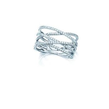 Birks Rosee Du Matin Criss-Cross Diamond Ring In 18Kt White Gold 0.91Ct