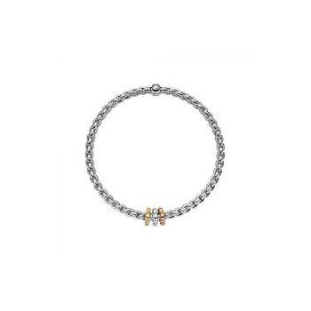 Fope 18Kt White Gold Eka Tiny Bracelet With Tri-Colur Clovers