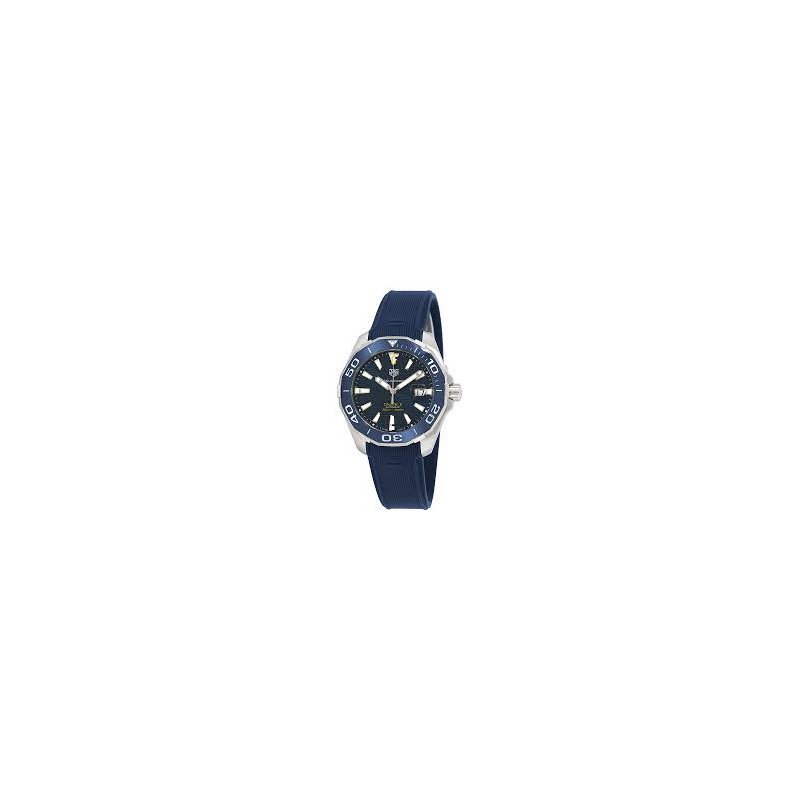 Tag Heuer  Aquaracer 300 Automatic Watch. The 43 mm Watch Has A Blue Dial, Blue Ceramic Bezel Insert, Stainless Steel Case And Blue Nylon Strap With Folding Clasp. Model WAY201B.
