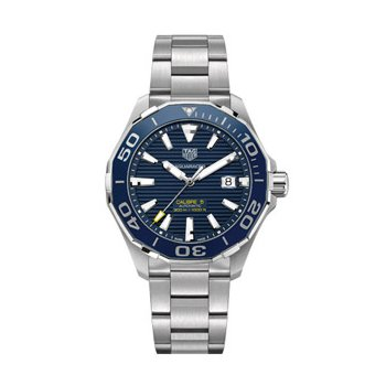Aquaracer 300 Automatic Watch. The 43 mm Watch Has A Blue Dial, Blue Ceramic Bezel Insert, Stainless Steel Case And Blue Nylon Strap With Folding Clasp. Model WAY201B.
