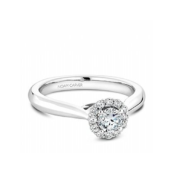 Carver Studio 14kt white gold diamond ring, 0.33ct round brilliant cut center diamond with 13=0.48ct  halo, SI/GH