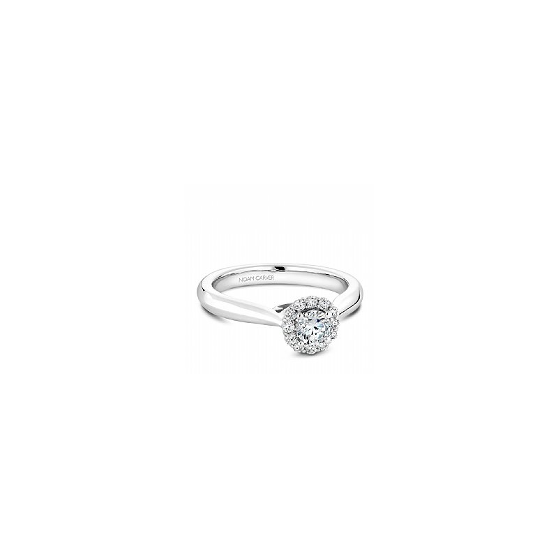 Noam Carver Carver Studio 14kt white gold diamond ring, 0.33ct round brilliant cut center diamond with 13=0.48ct  halo, SI/GH