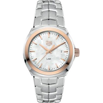 'Lady Link' 32 Mm Quartz Watch In 18Kt Rose Gold And Stainless Steel. The Watch Has A White Mother Of Pearl Dial, Rose Gold Bezel And A Tapered Steel Bracelet With  A Butterfly Folding Clasp. Watch Is Model WBC1350.