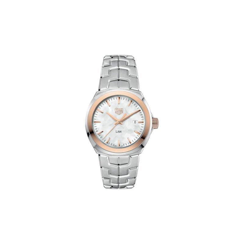 Tag Heuer  'Lady Link' 32 Mm Quartz Watch In 18Kt Rose Gold And Stainless Steel. The Watch Has A White Mother Of Pearl Dial, Rose Gold Bezel And A Tapered Steel Bracelet With  A Butterfly Folding Clasp. Watch Is Model WBC1350.