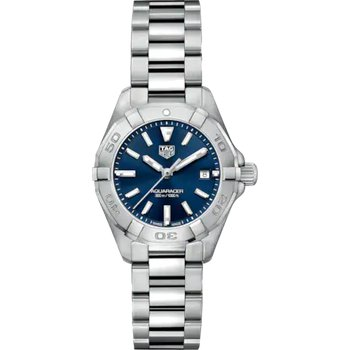Lady Aquaracer In Stainless Steel. The 28 mm Quartz Watch Has A Rotating Bezel, Blue Dial, And A Steel Bracelet With A Folding Clasp Which Includes A Wet-Suit Extension. Model WBD1412.
