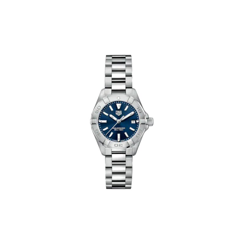 Tag Heuer  Lady Aquaracer In Stainless Steel. The 28 mm Quartz Watch Has A Rotating Bezel, Blue Dial, And A Steel Bracelet With A Folding Clasp Which Includes A Wet-Suit Extension. Model WBD1412.