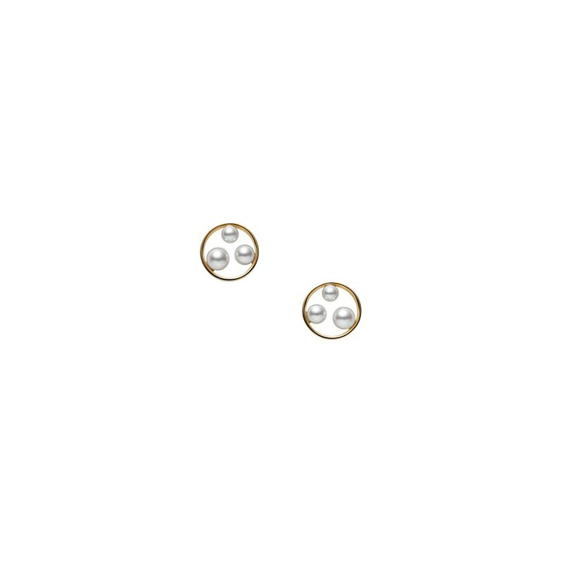 Mikimoto Akoya Cultured Pearl Earrings in Yellow Gold. Available at our Halifax Store.