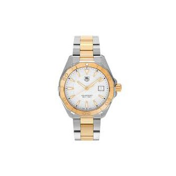 Aquaracer Quartz Mans Stainless Steel, Gold Overlay Watch. The 40.5 mm Watch Has A Silver Dial And A Steel, Two-Tone Bracelet With A Wet-Suit Extension. Model WAY1120.