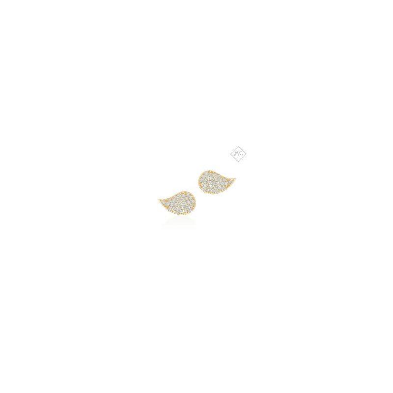 Birks Birks Petale Medium Stud Earrings In 18Kt Yellow Gold And Diamonds 0.32Ct
