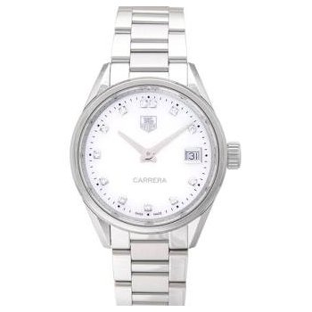 Ladies Carrera Steel Watch. The 36 mm Quartz Watch Has A White Mother Of Pearl Dial With Diamond Hour Markers, Date At 3 O'Clock And A Steel Bracelet With Folding Clasp. Model WBG1312.