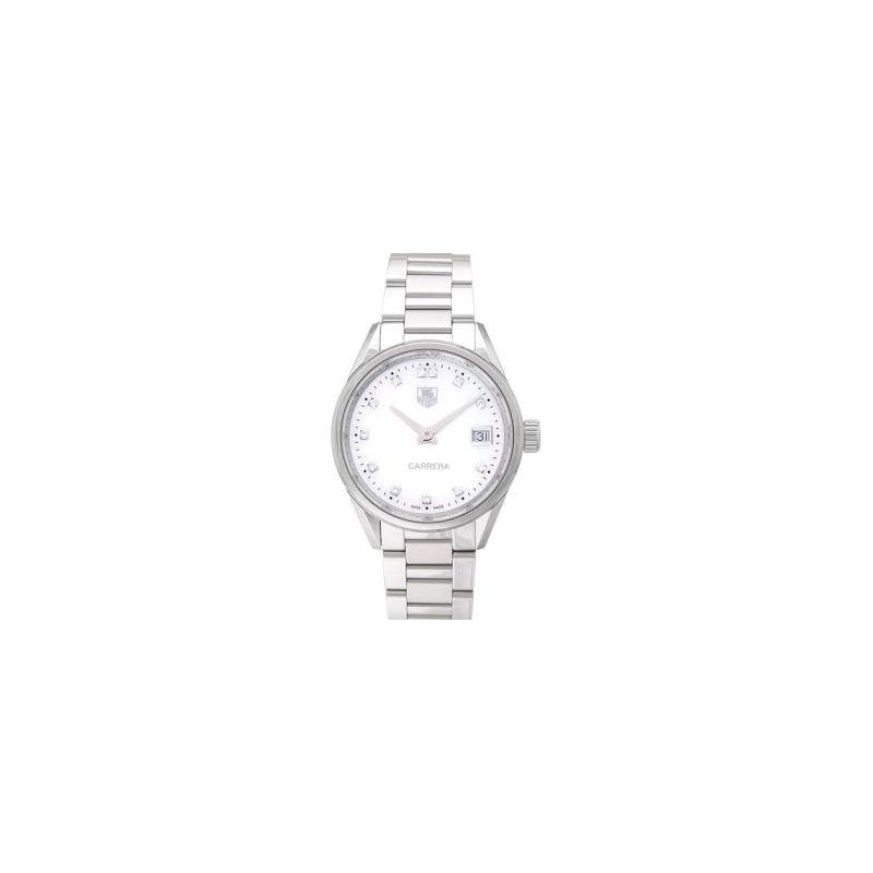 Tag Heuer  Ladies Carrera Steel Watch. The 36 mm Quartz Watch Has A White Mother Of Pearl Dial With Diamond Hour Markers, Date At 3 O'Clock And A Steel Bracelet With Folding Clasp. Model WBG1312.