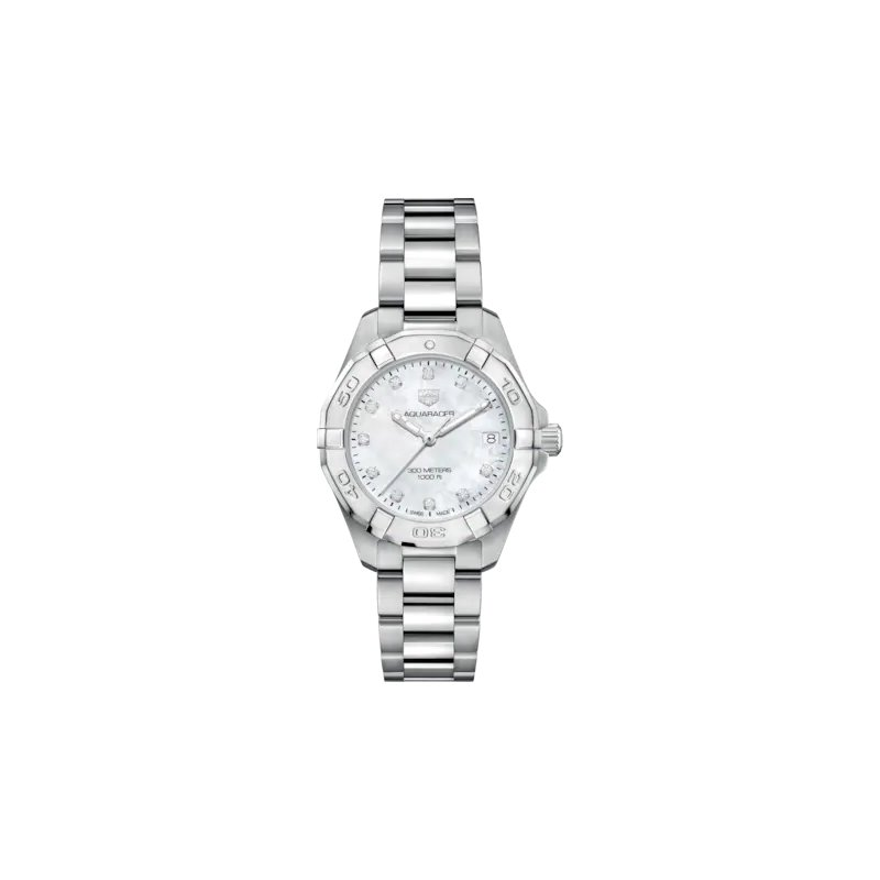 Tag Heuer  Lady Aquaracer In Stainless Steel. The 32 mm Quartz Watch Has A  Rotating Bezel, White Mother Of Pearl Dial With Diamond Hour Markers And Steel Bracelet With A Wet-Suit Extension. Model WBD1314.