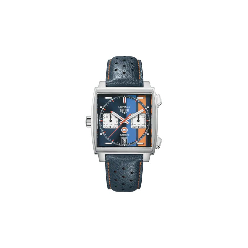 """Tag Heuer  Monaco Automatic Chronograph Watch In Stainless Steel. The 39 mm Watch Has The """"Gulf"""" Dark Blue, Light Blue And Orange Racing Stripe Dial, Crown At 9 O'Clock And A Blue Leather Strap With Orange Stitching On A Folding Clasp. Model CAW211R."""