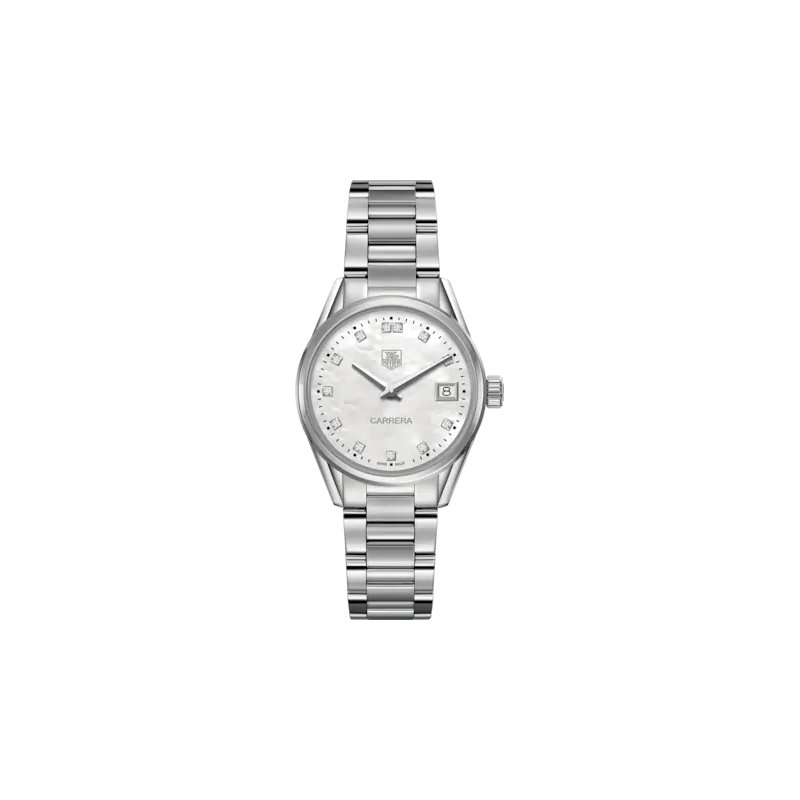 Tag Heuer Ladies Carrera Stainless Steel Watch. The 32 mm Quartz Watch Has A Steel Case, Steel Bracelet And A Mother Of Pearl Dial With Diamond Hour Markers. Model WAR1314.