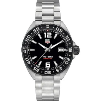 Formula One Quartz Watch. The 41 mm Stainless Steel  Watch Has A Black Dial And Rotating Bezel, Steel Case And Flip-Lock Extension Bracelet. Model WAZ1110.