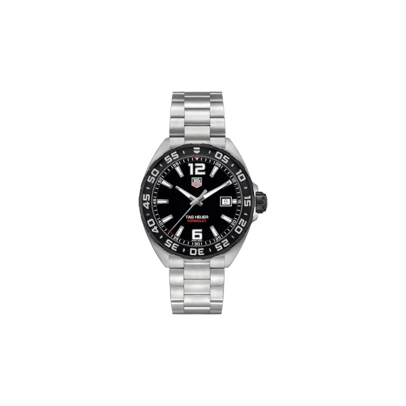 Tag Heuer  Formula One Quartz Watch. The 41 mm Stainless Steel  Watch Has A Black Dial And Rotating Bezel, Steel Case And Flip-Lock Extension Bracelet. Model WAZ1110.