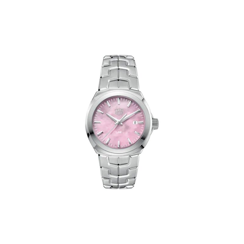 Tag Heuer  'Lady Link' 32 mm Quartz Watch In Stainless Steel. The Watch Has A Pink Mother Of Pearl Dial, A Tapered Steel Bracelet With  A Butterfly Folding Clasp. Watch Is Model WBC1317.
