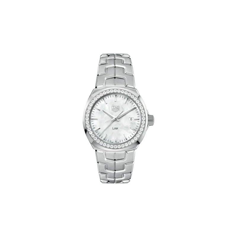 Tag Heuer  'Lady Link' 32 mm Quartz Watch In Stainless Steel. The Watch Has A White  Mother Of Pearl Dial With Diamond Hour Markers, Full Diamond Bezel And A Tapered Steel Bracelet With  A Butterfly Folding Clasp. Watch Is Model WBC1314.