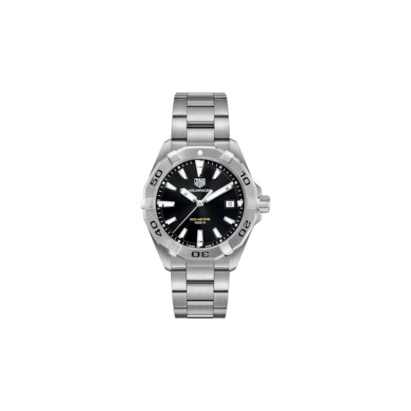 Tag Heuer  Aquaracer Quartz Watch. The 41 mm Steel Watch Has A Black Dial, Unidirectional Rotating Bezel And A Steel Bracelet With Folding Clasp And Wet Suit Extension. Model WBD1110.