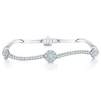 Birks Snowflake Curved Diamond Bracelet In 18Kt White Gold 0.89Ct