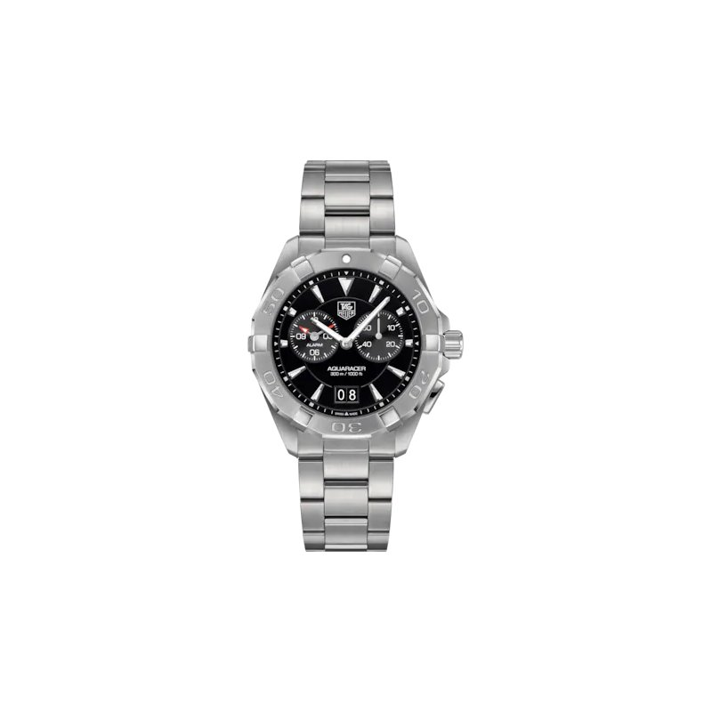 Tag Heuer  Aquaracer Mans Steel Alarm Watch. The 41 mm Quartz Watch Has A Black Dial, Sapphire Crystal, Water Resistant To 300 M And A Steel Bracelet With Wet Suit Extension. Model WAY111Z.