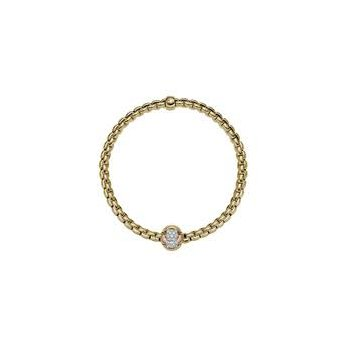 Fope 18Kt Yellow Gold Eka Tiny Bracelet Tri-Colour Knot Pave With 0.25Ct Diamonds