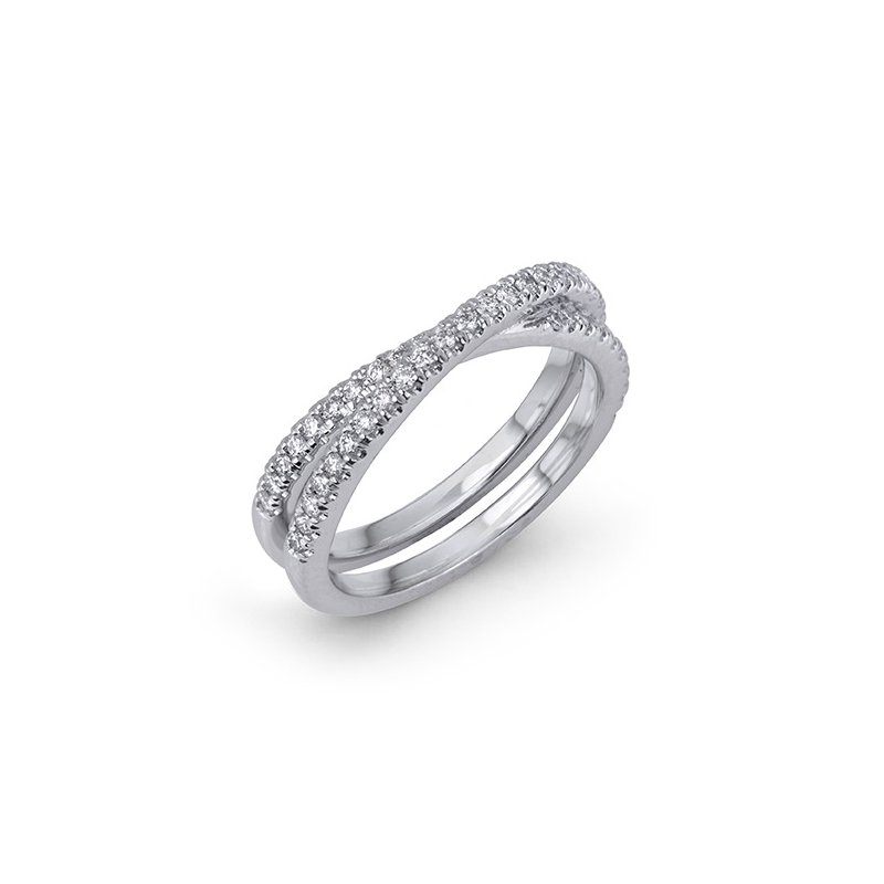 Max Strauss 14kt white gold cross over diamond band 0.40ct. Available at our Halifax store.