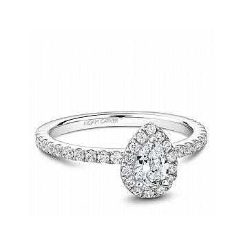 Carver Studio ring 14kt white gold 0.50ct Pear shape center diamond with 38rd=0.40ct in halo and shoulders SI/GH