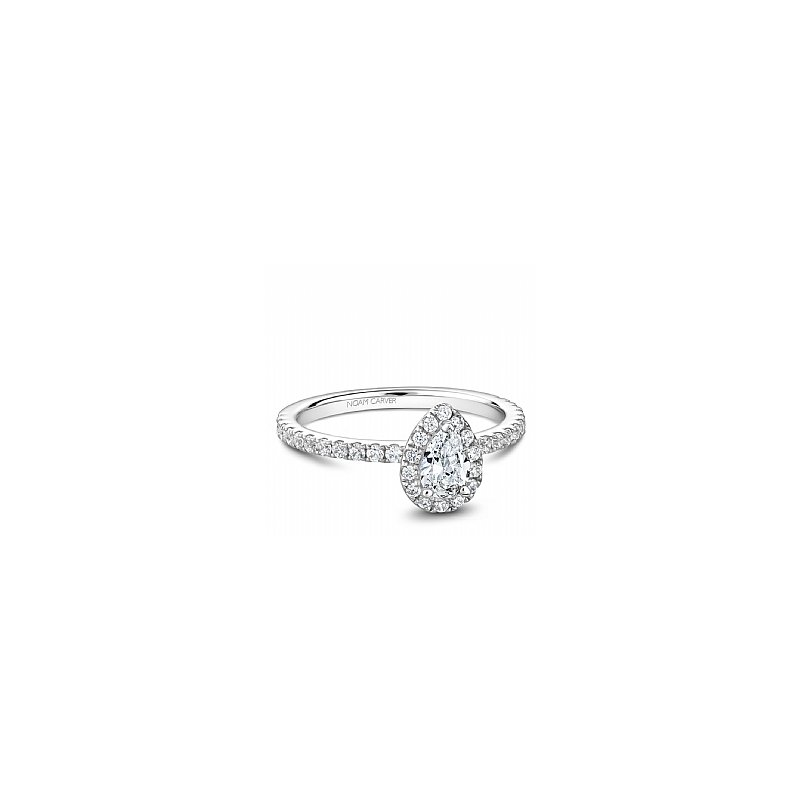 Noam Carver Carver Studio ring 14kt white gold 0.50ct Pear shape center diamond with 38rd=0.40ct in halo and shoulders SI/GH