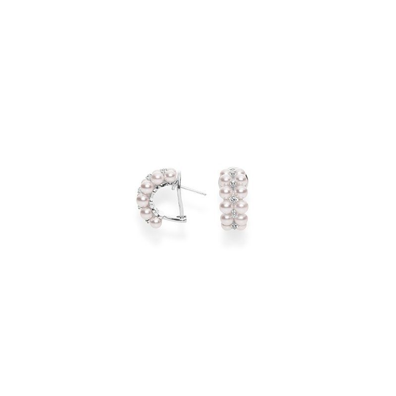 Mikimoto Akoya Cultured Pearl and Diamond Semi-Hoop Earrings. Available at the Halifax Store.