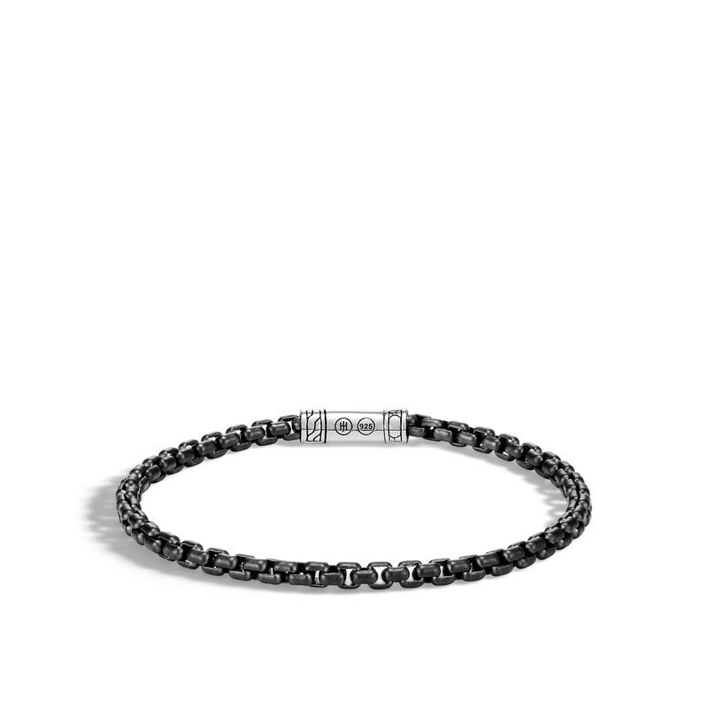 John Hardy Men's Classic Chain, Silver and Black PVD Bracelet, Size M. Available at our Halifax store.